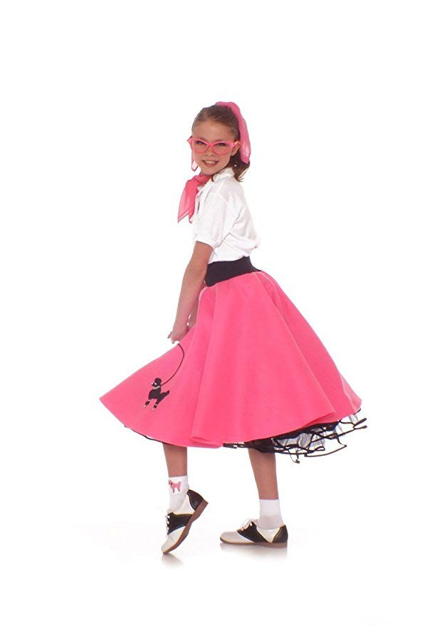Hip Hop 50s Shop 4 Piece Child Poodle Skirt Costume Set Size Medium Hot Pink  sc 1 st  Pinterest : hip halloween costume ideas  - Germanpascual.Com