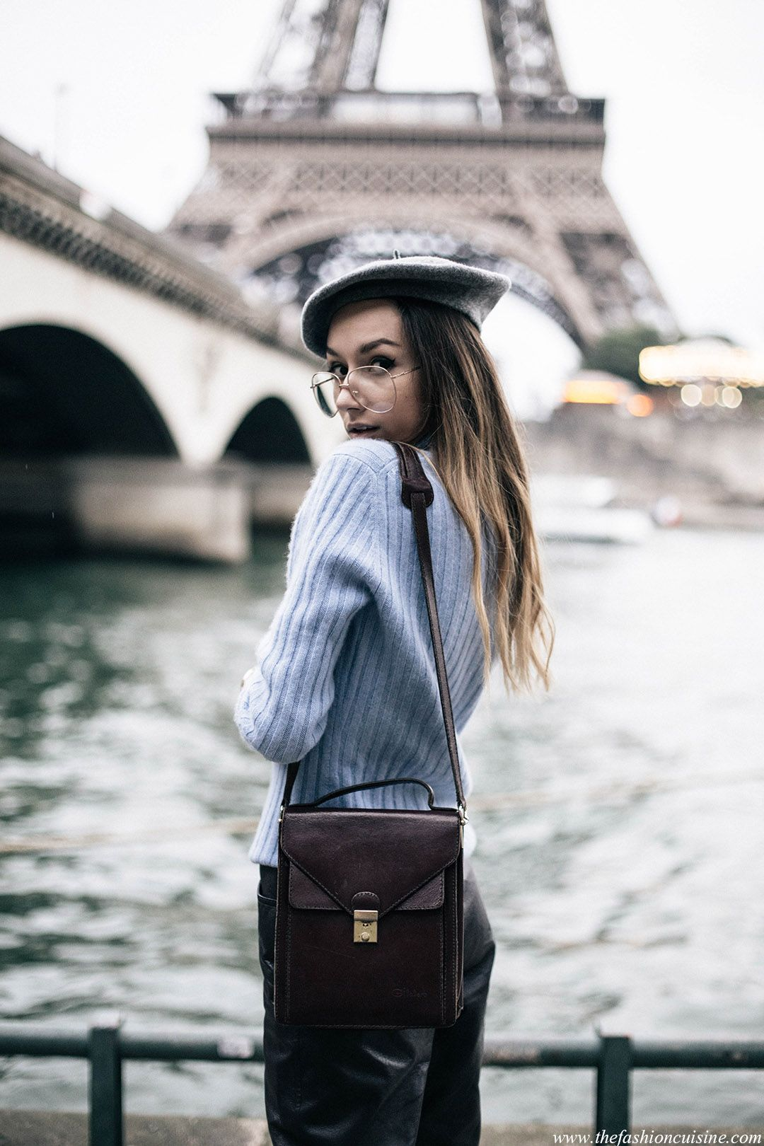Fashion blogger Beatrice Gutu in Paris wearing cashmere baby blue  turtleneck with grey beret and geek aviator glasses near Eiffel Tower More 5c181b06923