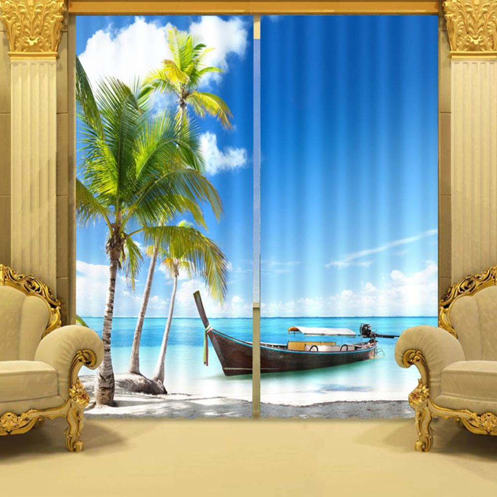 Colorful Ocean Themed Curtain Set In Blue Curtains Drapes