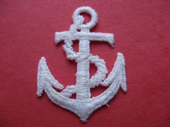 White anchor patch vintage nautical appliqué trim sailor military