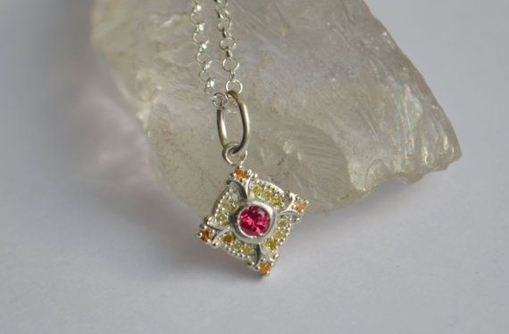 Argentium Silver Cluster Pendant with Red Burma Spinel, Yellow Diamond and Mandarin Garnet on Etsy, $209.00