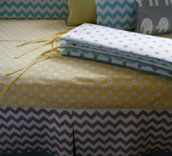 Baby Bedding  / White and Grey Blue Modern Crib Bedding on Etsy, $245.00