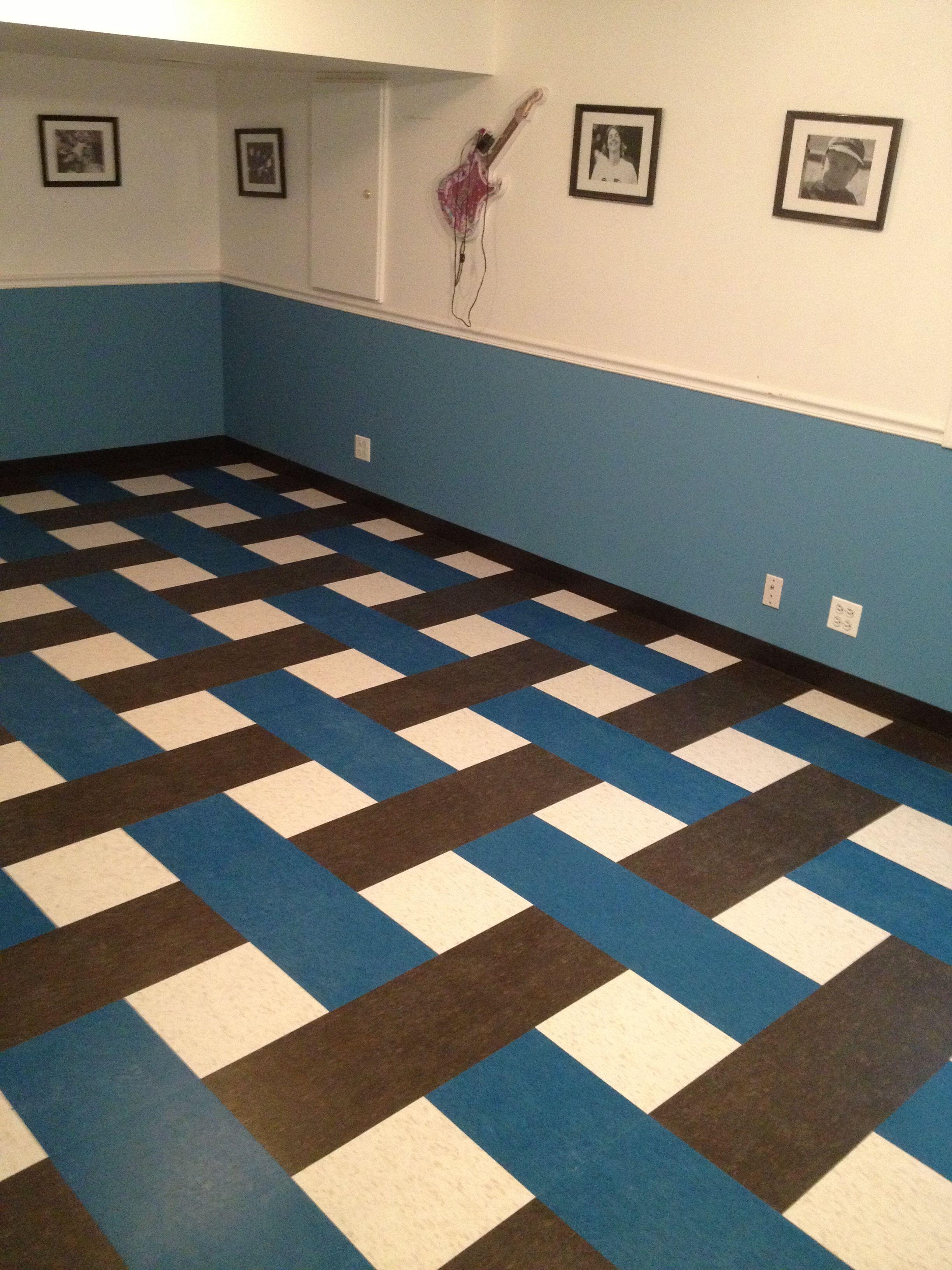 VCT (Vinyl Composite Tiles) in a basketweave pattern. It