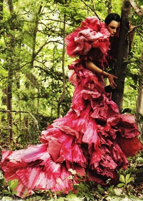 """Garden of Delights"" by Steven Meisel for Vogue December 2006 / Christian Lacroix gown"