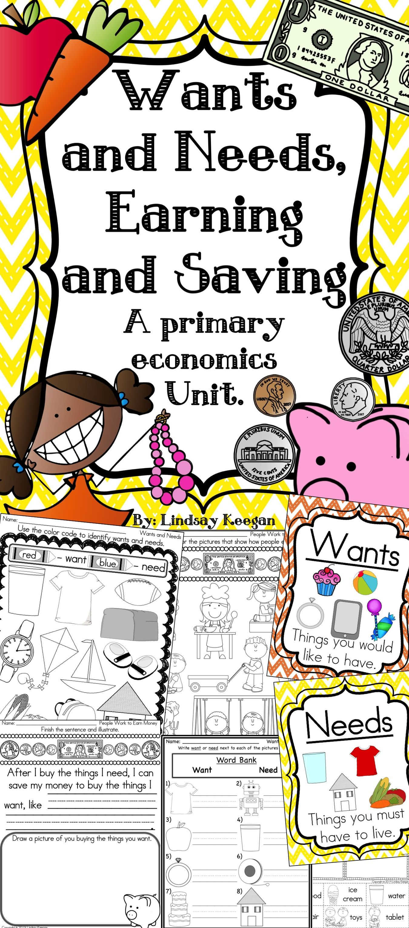 Wants And Needs Earning And Saving A Primary Economics Unit