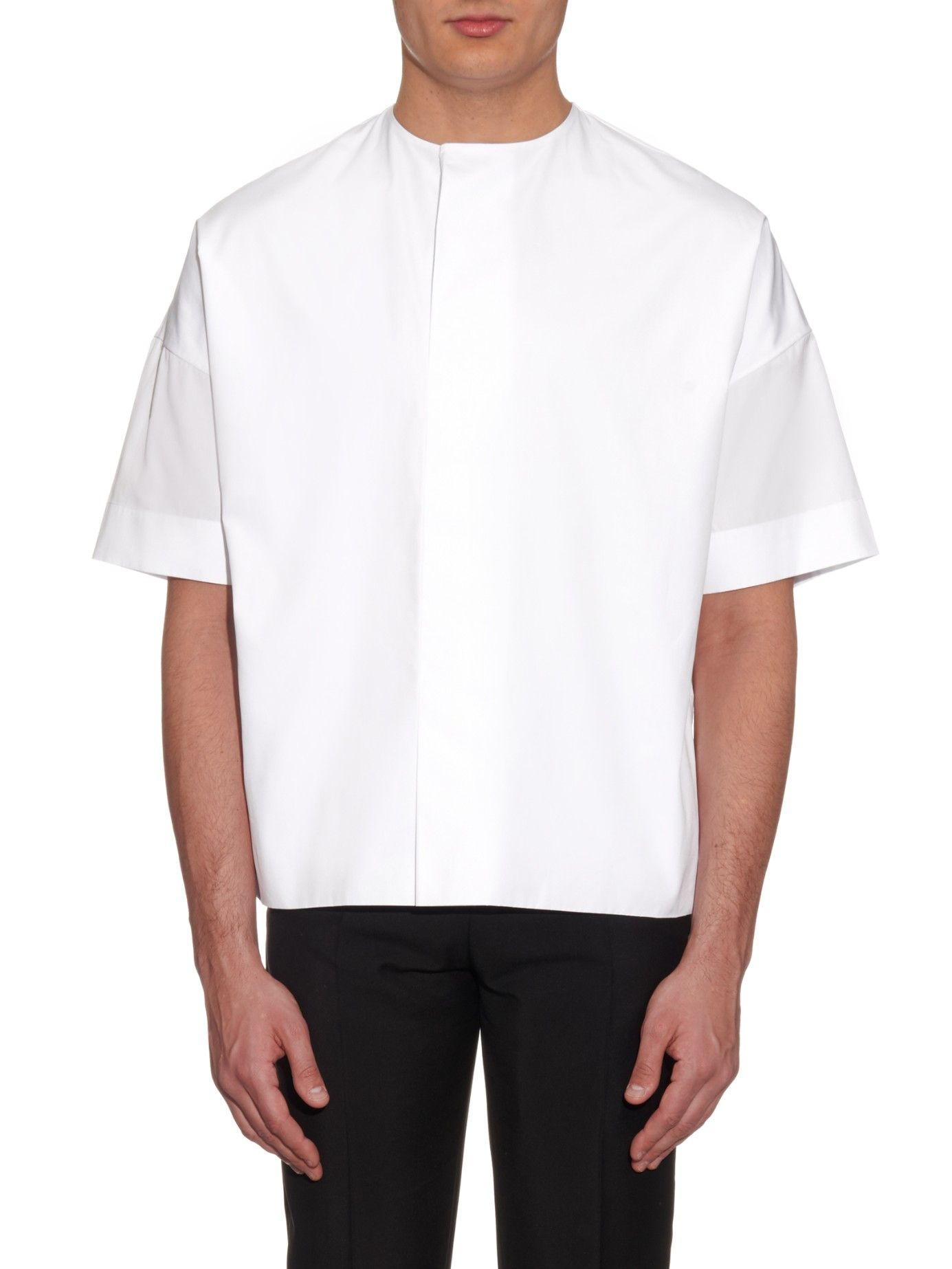 Collarless cotton shirt  | Balenciaga | MATCHESFASHION.COM US