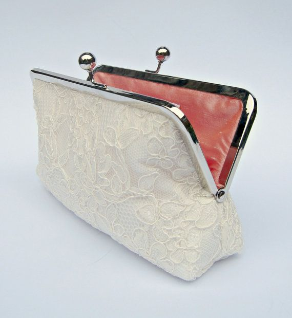 Lace Bridal Clutch Bag Ivory Wedding Cream Bridesmaids Evening