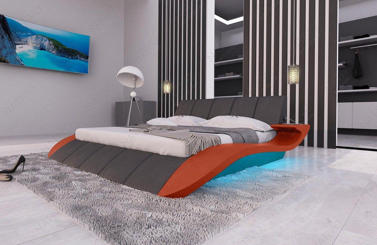 Designer Lederbett BERN V2 inkl. LED Beleuchtung & USB ...