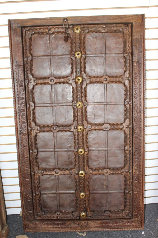 Antique Indian Terrace Door Handcarved Iron straps Brown Rustic
