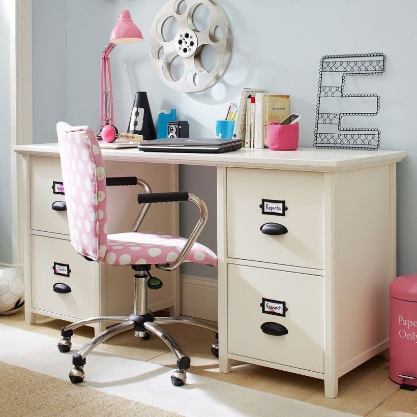 Office : Modern Student Desk Design With Pink Pattern Fabric Chair With Armrests Also White Study Desk And Pink Table Lamp How to select the best kids student desk