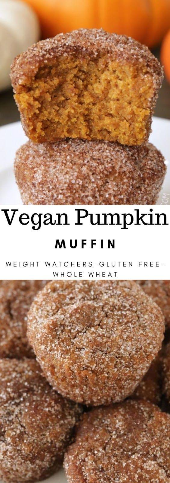 Vegan Pumpkin Muffins (gluten-free, whole wheat options) #breakfast #vegan #pumpkin #muffin #glutenfree #wholewheat #weightwatchers #cinnamon #glutenfreebreakfasts