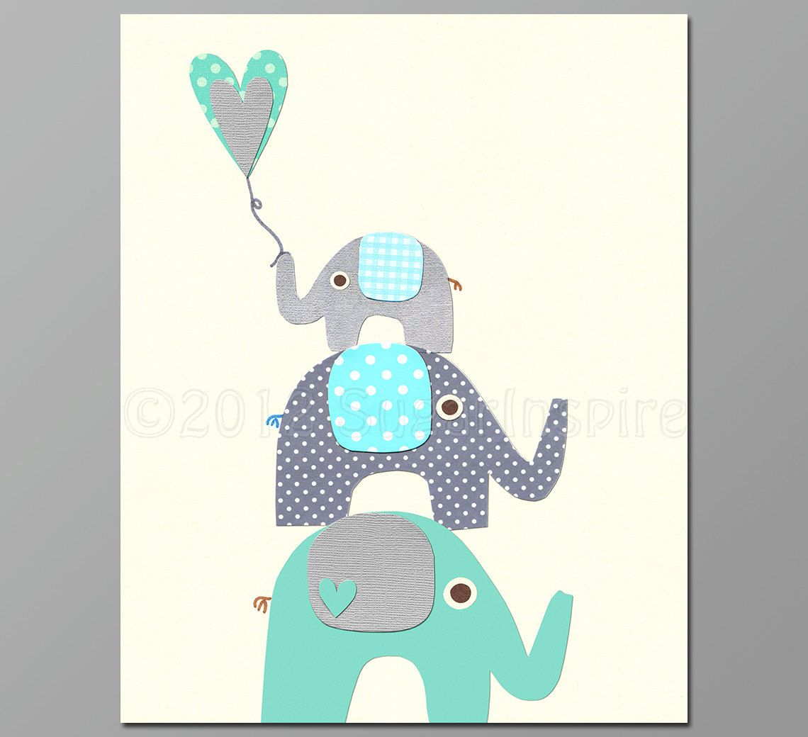 Elephant nursery wall art print mom baby dad by rizzleandrugee - Teal Elephant Nursery Art Print 8x10 Baby Boy By Sugarinspire