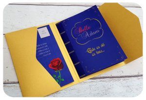 Beauty And The Beast Blue Yellow Wedding Invite