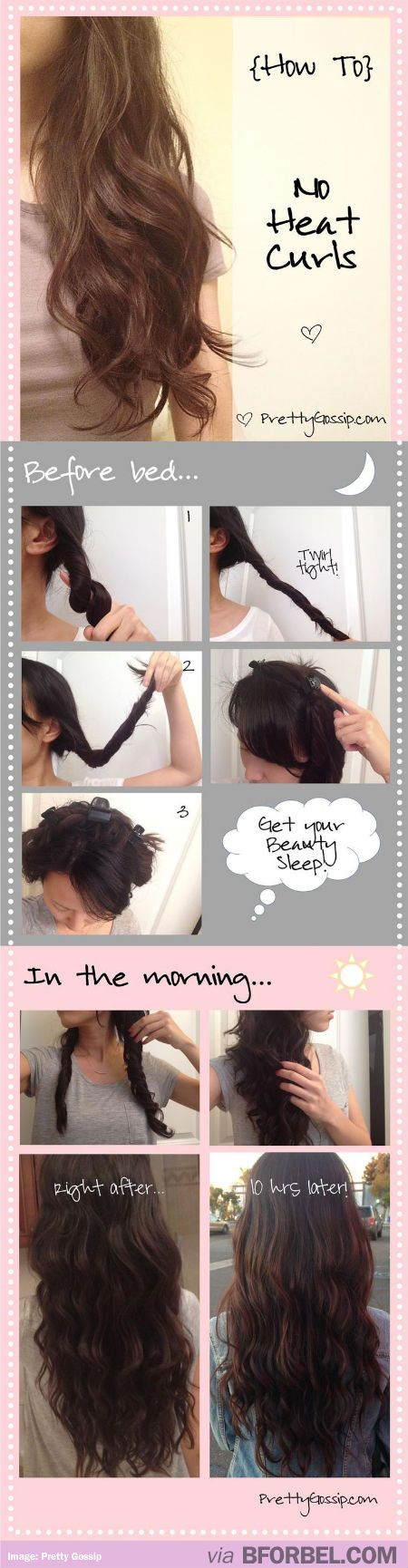 No Heat Curls You Do Before Bed So More Sleep Time Curly Hair Styles Pretty Hairstyles Hair Beauty