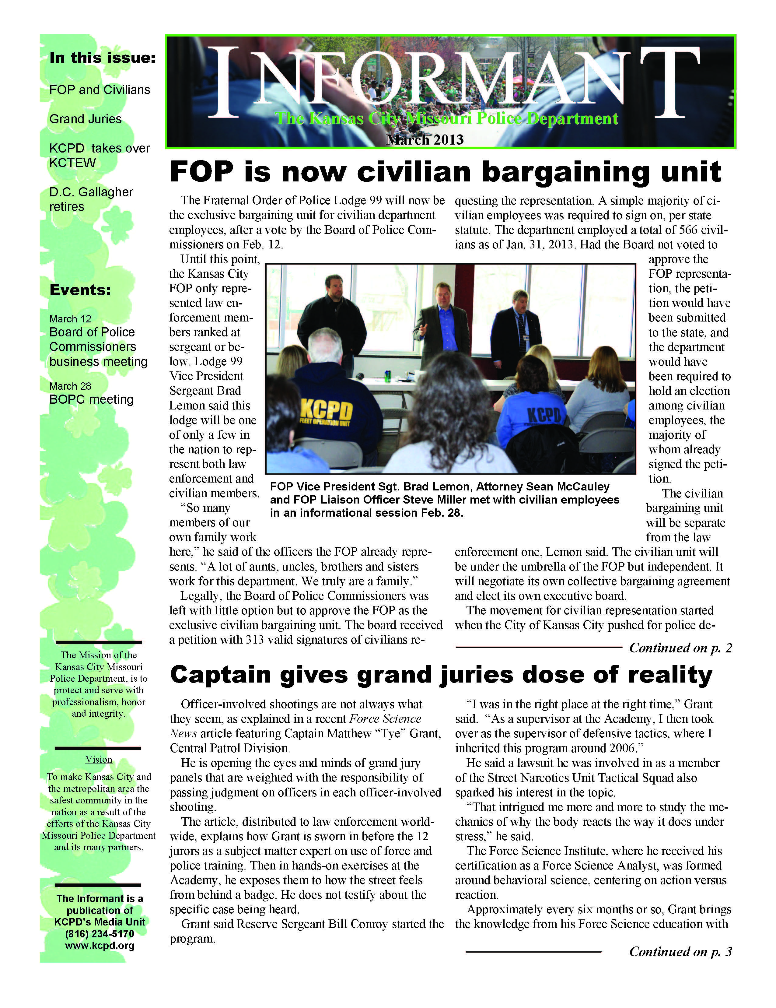 The March 2013 Edition Of The Monthly Informant Newsletter Now Is