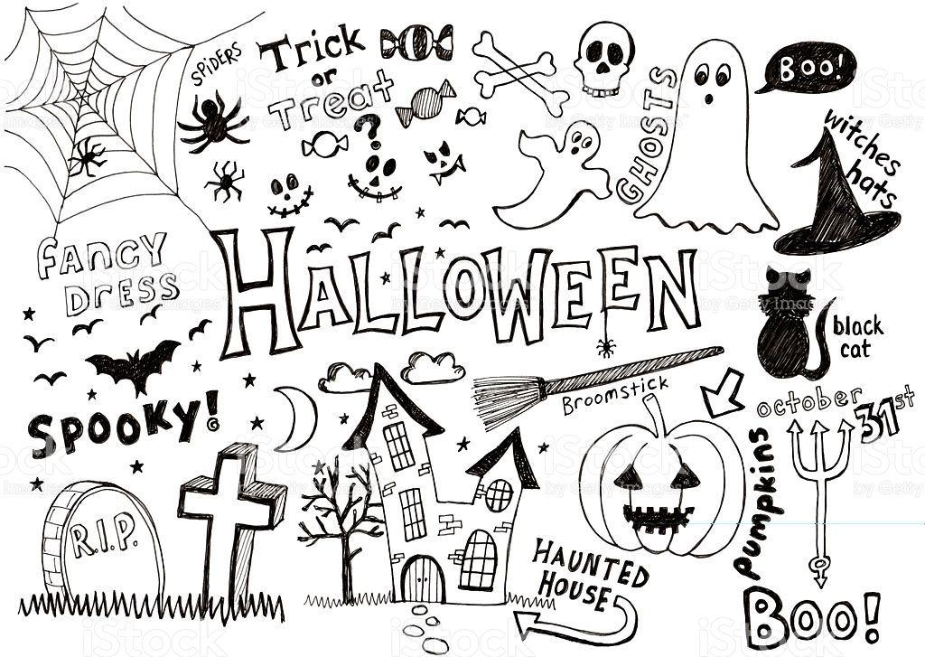 Lots of doodles associated with Halloween Kritzeleien