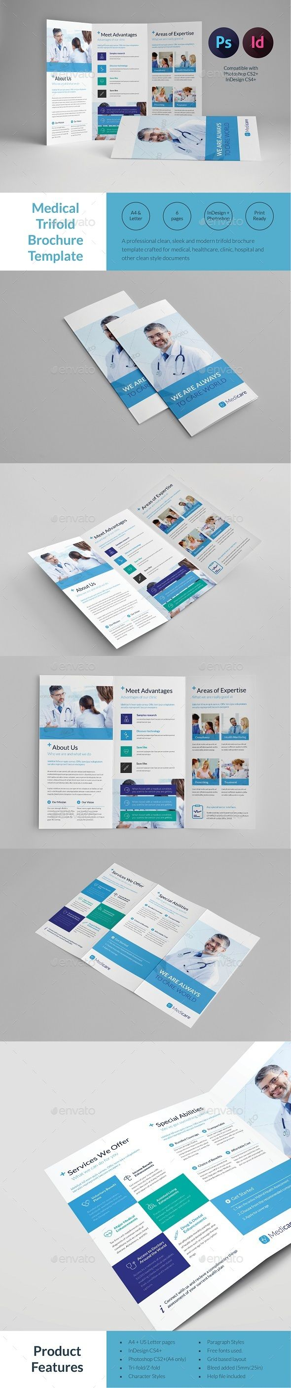 Medical Trifold Brochure Template | Folletos, Plantilla de folleto y ...