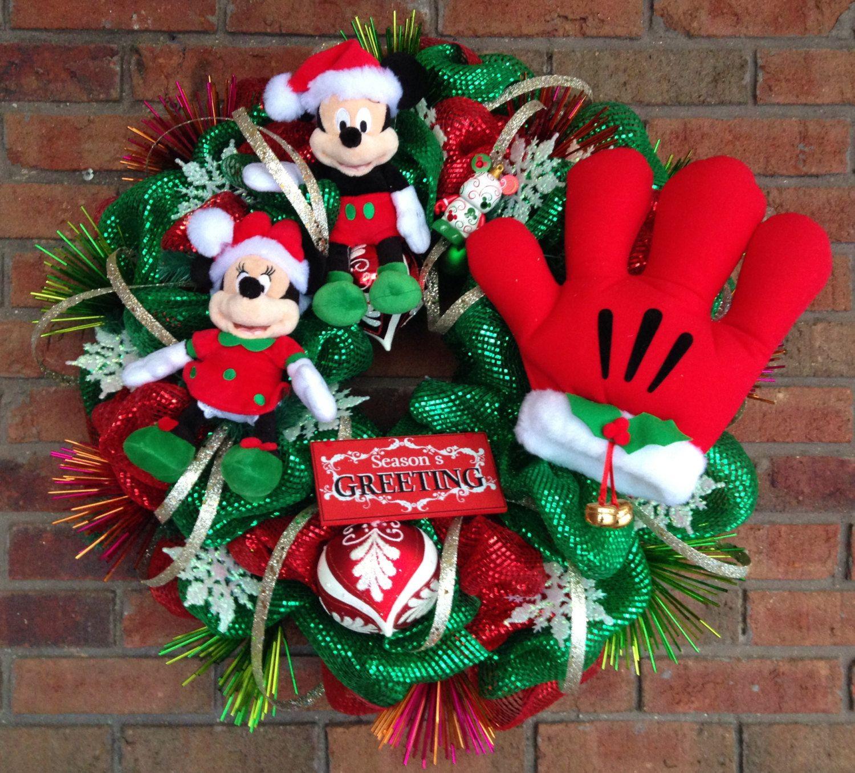 Navidad guirnalda mickey y minnie mouse por for Adornos navidenos mickey mouse