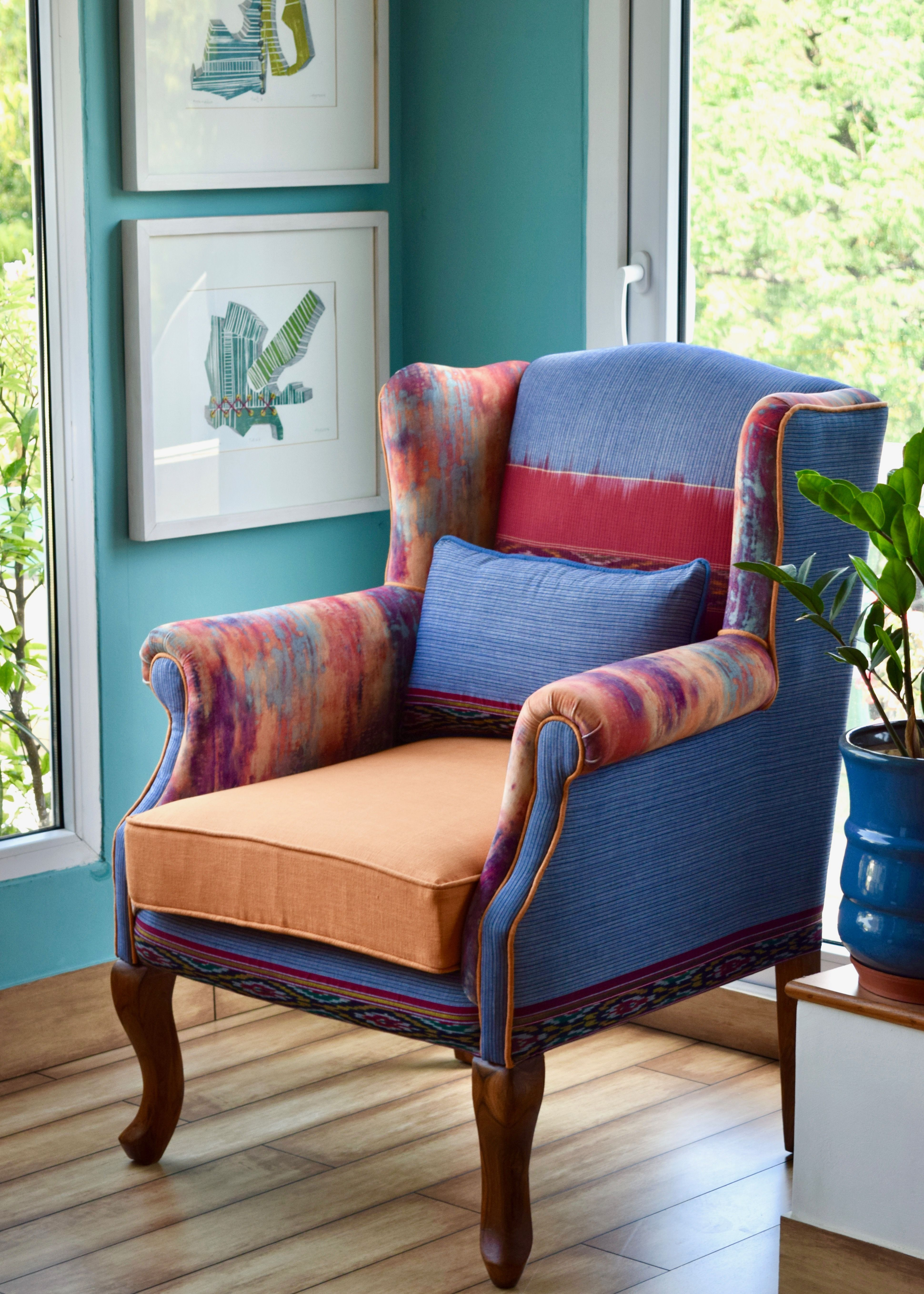 Best The Tobias Wingback Orange Blue Red With Images 400 x 300