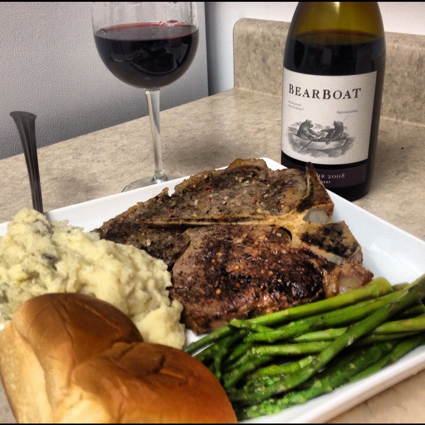 Steak, Mashed Potatoes, Asparagus, Red Wine.