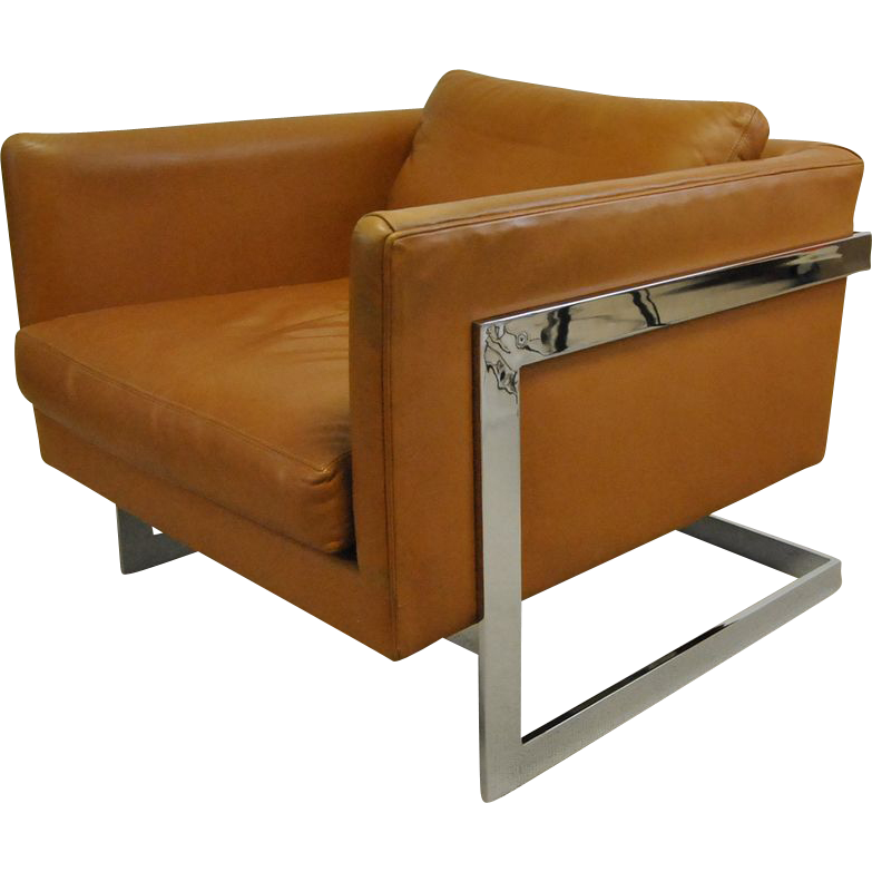 Peachy Thayer Coggin Chrome And Brown Leather Cube Chair Designed Creativecarmelina Interior Chair Design Creativecarmelinacom