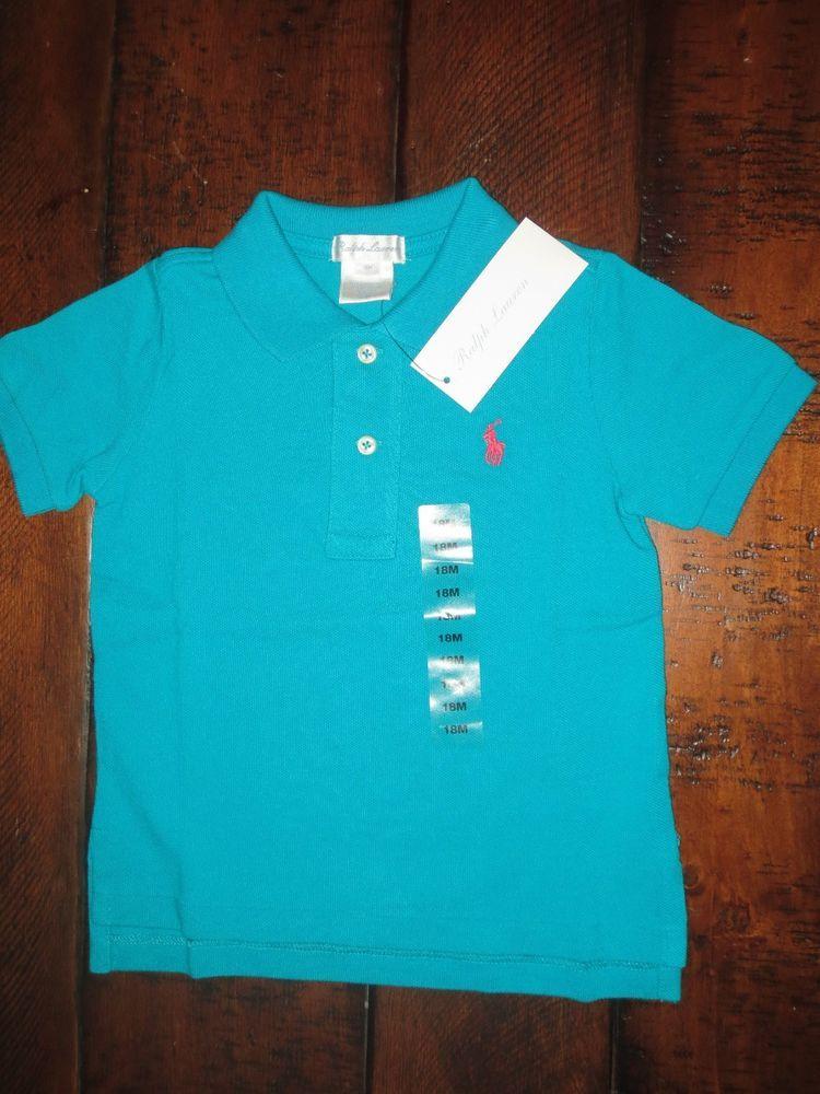New Polo Ralph Lauren Baby Boy 18 Months Polo Shirt Aqua Blue Nwt