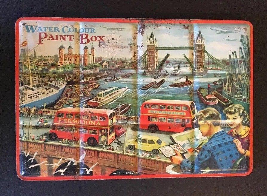 Vintage Page Water Color Paint Box Tin London England Bridge