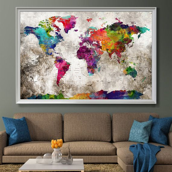 Push pin travel map wall art print extra large wall art push pin presione mapa viajes de pin impresin del arte de la pared gumiabroncs Image collections