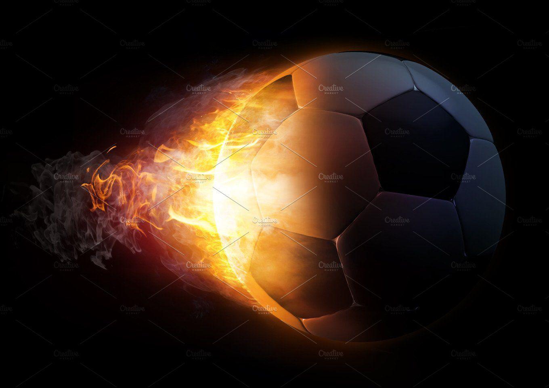 Soccer Ball In Fire Illustration Soccer Ball Soccer Soccer Backgrounds