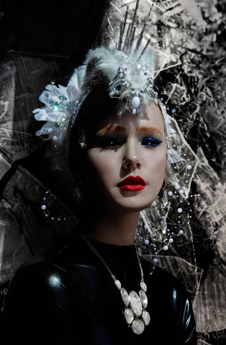 Photographer: Cadeography /  Hair & Makeup: Juel Bergholm /  Stylist: Lydia Marie / Headpiece: Regalia Designs / Feather Fascinators / Model: Kyra Karmichael