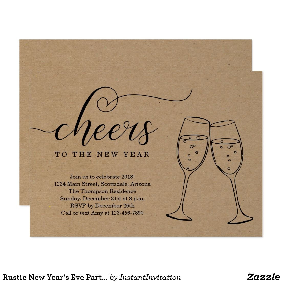 rustic new years eve party on kraft background card