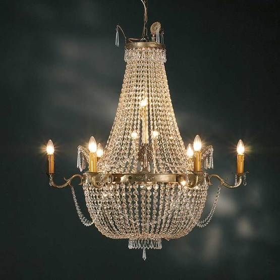 Empire crystal six arm chandelier | Andy Thornton