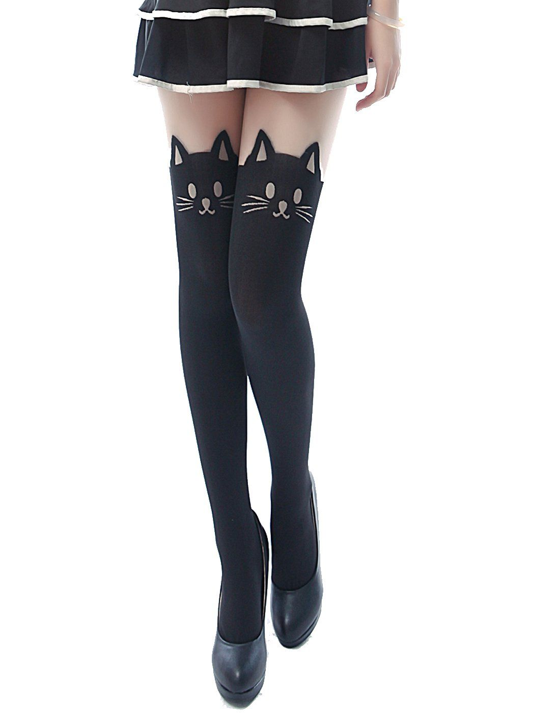 e568a8d6a5d07 Sexy Fashion Design Pattern Pantyhose Stockings Tights - by HDE (Neko Cat  Mock Thigh Highs) at Amazon Women's Clothing store: