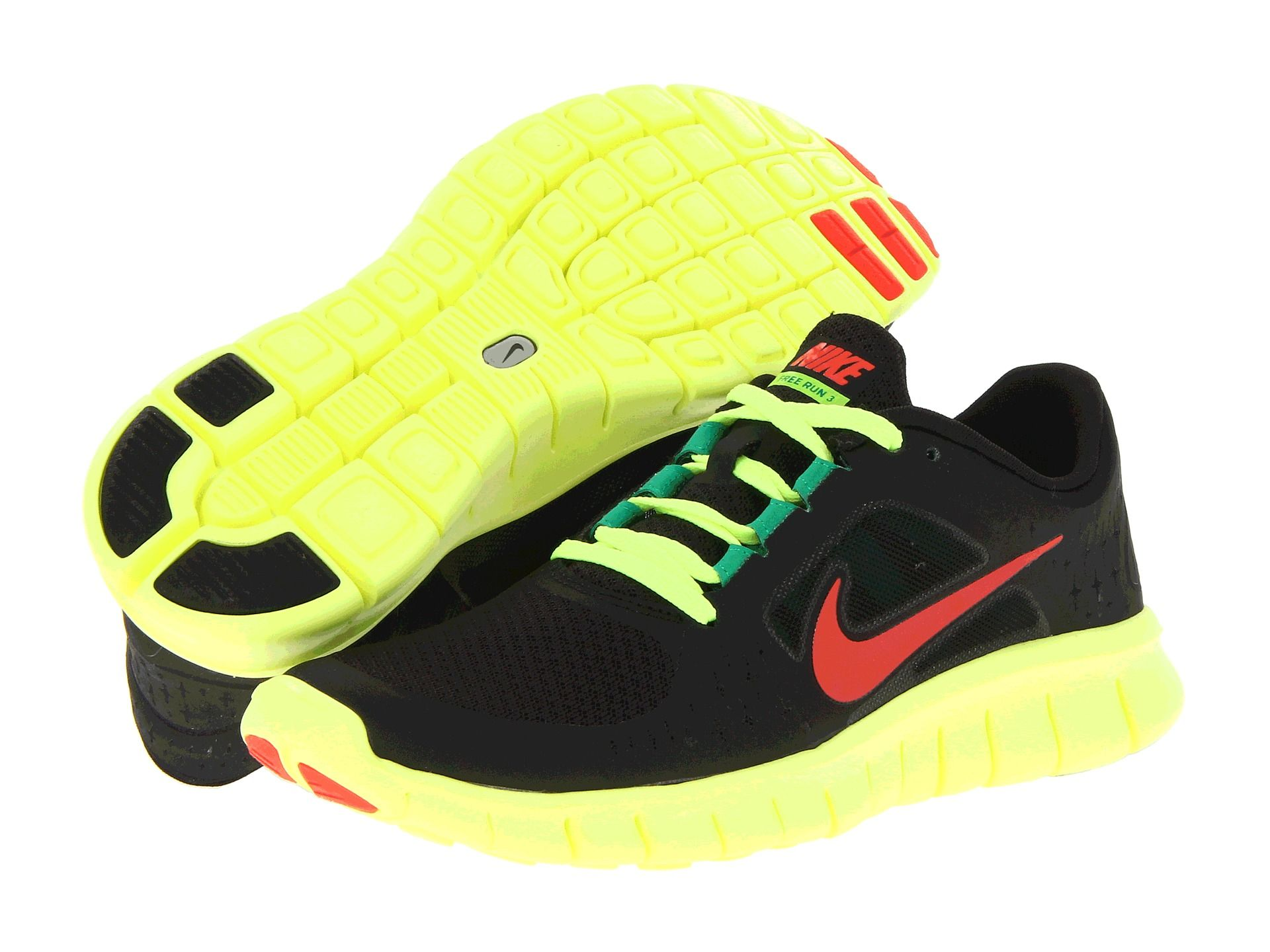 best sneakers 48f0d 1d815 Nike Kids Free Run 3 (Youth) Black Volt Stadium Green Bright Crimson -  Zappos.com Free Shipping BOTH Ways