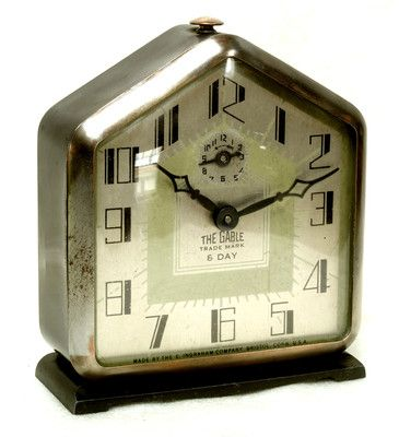 """Antique Ingraham """"THE GABLE"""" 8 Day Deco Alarm Clock. I'd love to own a clock like this."""