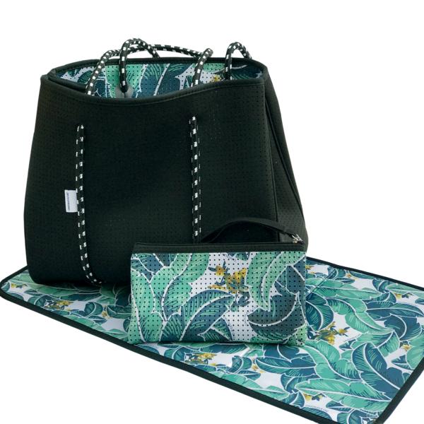 Tropical Palm / Black Reversible Neoprene Tote Bag