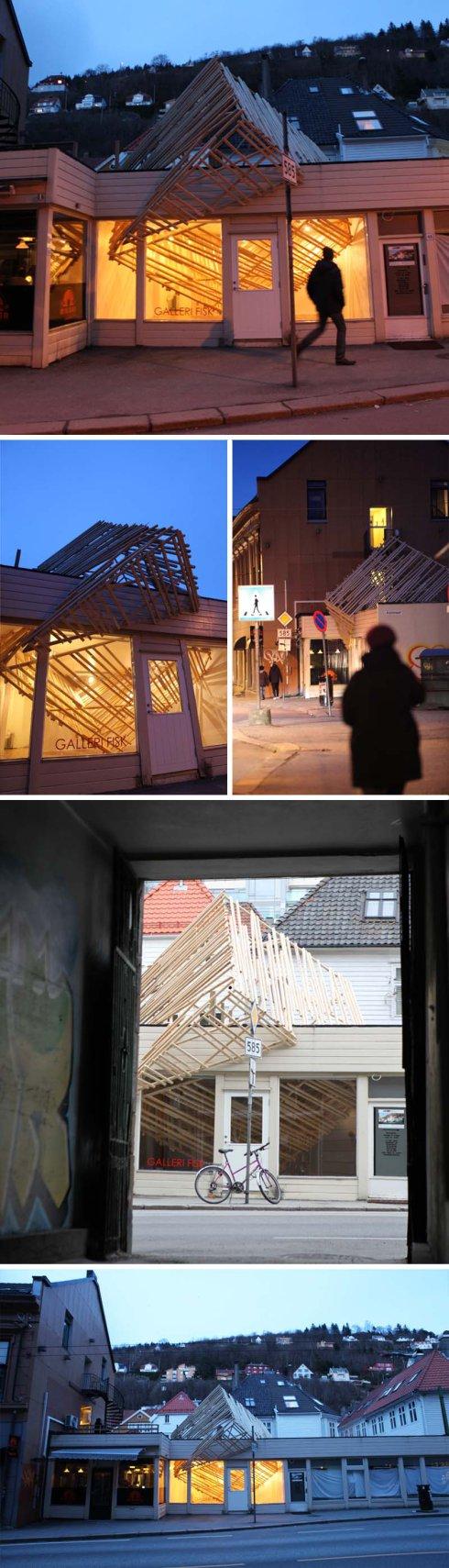 Fragile Invasion, Hidemi Nishida Studio, Norway, Cool wood structure through gallery roof