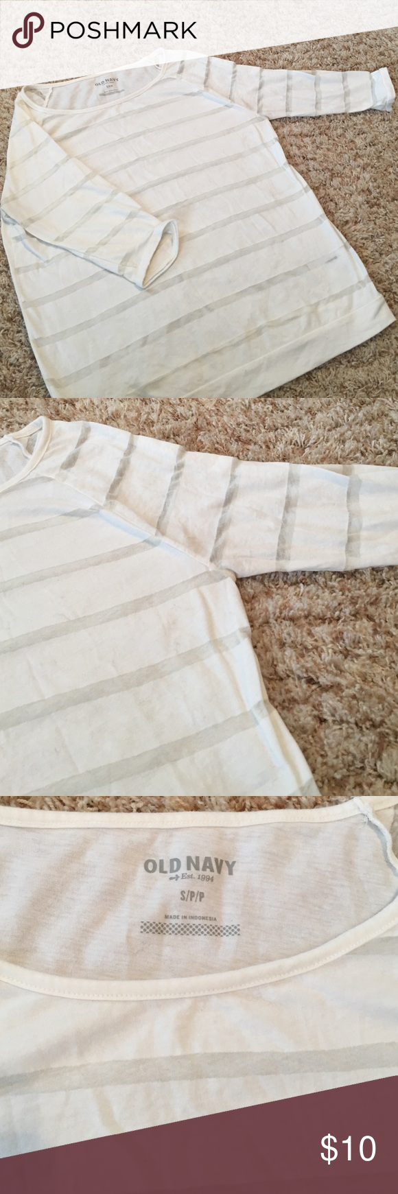 Cream Striped 3/4 Sleeve Top Perfect condition! Cute and comfy. Size small. Fits loose Old Navy Tops Blouses