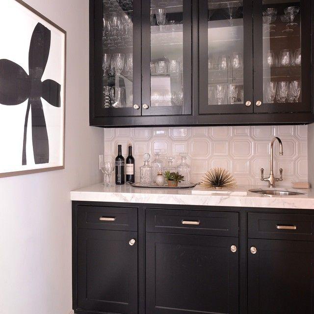 Black Glass Front Butler Pantry Cabinets Transitional Kitchen Trendy Kitchen Tile Backsplash For White Cabinets Basement Bar Designs