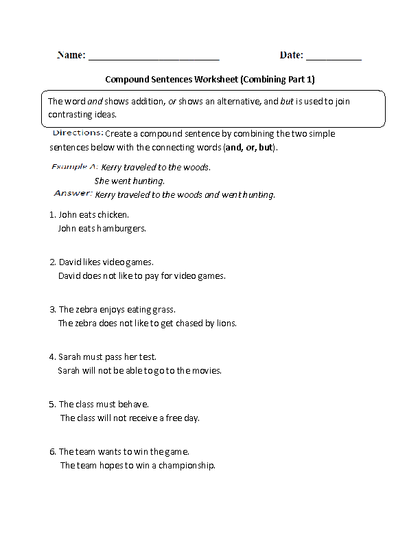 Compound Sentences Worksheet Combining Part 1 Intermediate