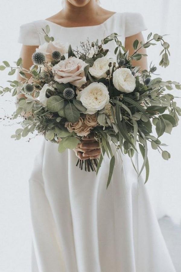 20 elegante bruidsboeketten in wit en groen