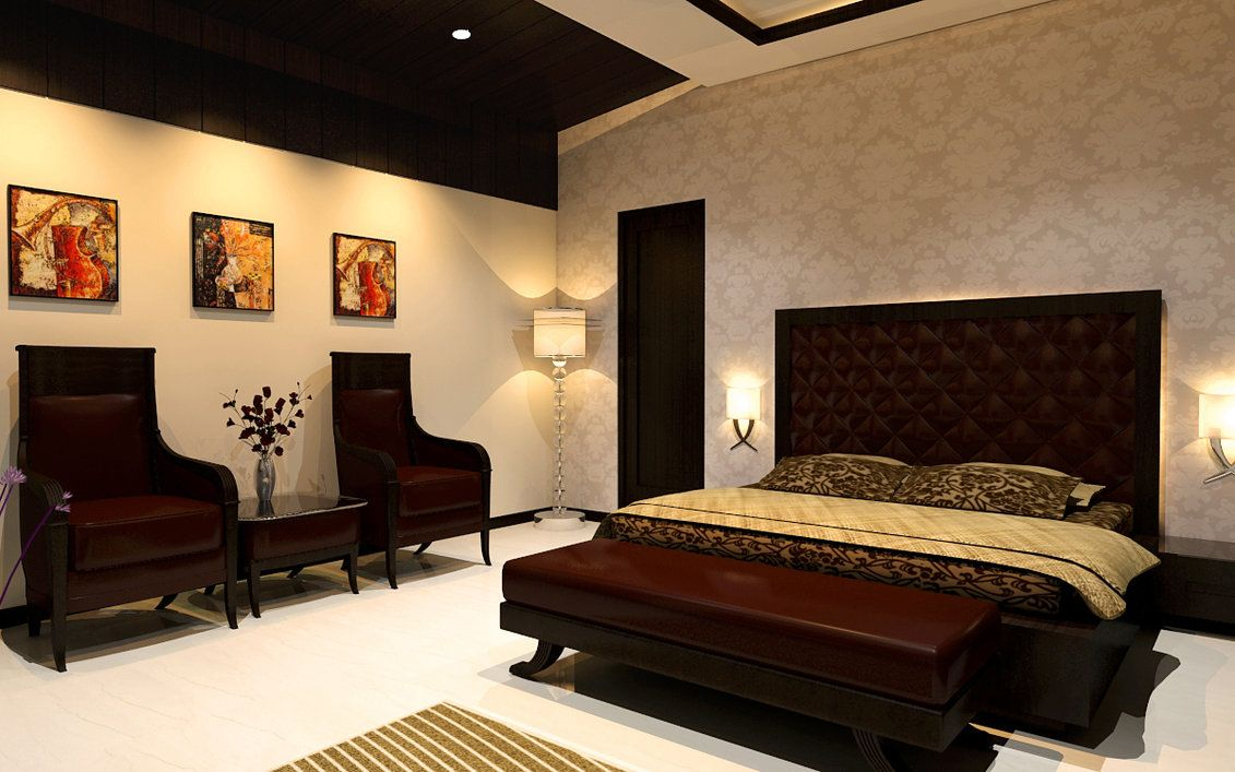 Modern bedroom interior design beautiful sofa lamp light for Best interior designs for bedroom
