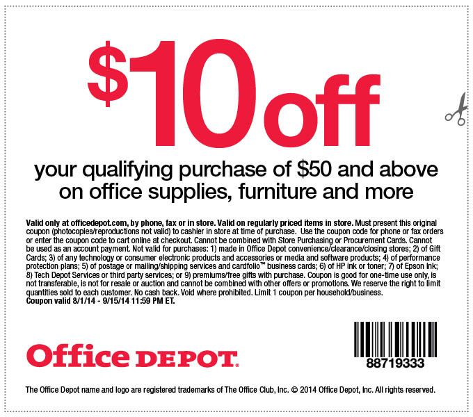 Office Depot Coupon September 2014 $10 off $50 at Office #Depot - office depot