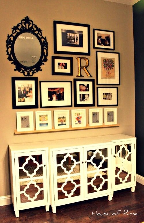 Picture Gallery Wall -- I like the shelf at the bottom anchoring the ...
