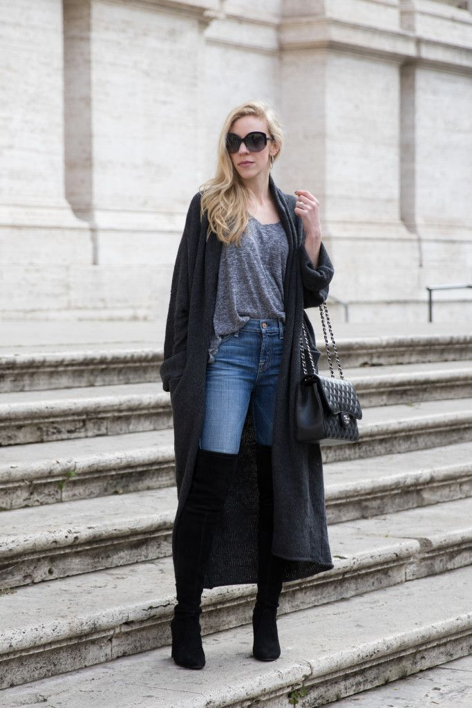 How to Wear a Duster Cardigan:v-neck tee, 7 For All Mankind high ...