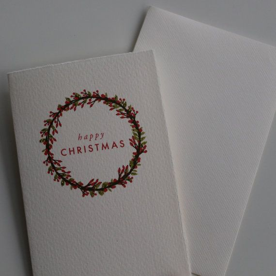 Happy Christmas - Greeting card with a glitter wreath by kardz kouture - $5.00