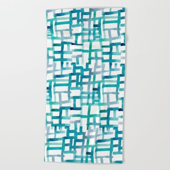 Turquoise lines Beach Towel by DanaeStudio