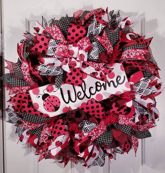 Photo of Ladybug wreath, welcome wreath, summer wreath, ribbon wreath, black, white and red, home decor, door wreath,