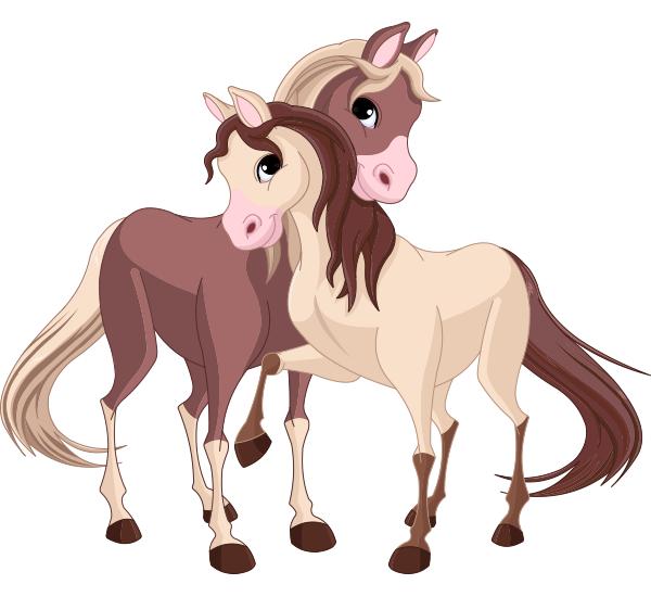 Lovable Horses Horse Cartoon Horse Illustration Animal Clipart