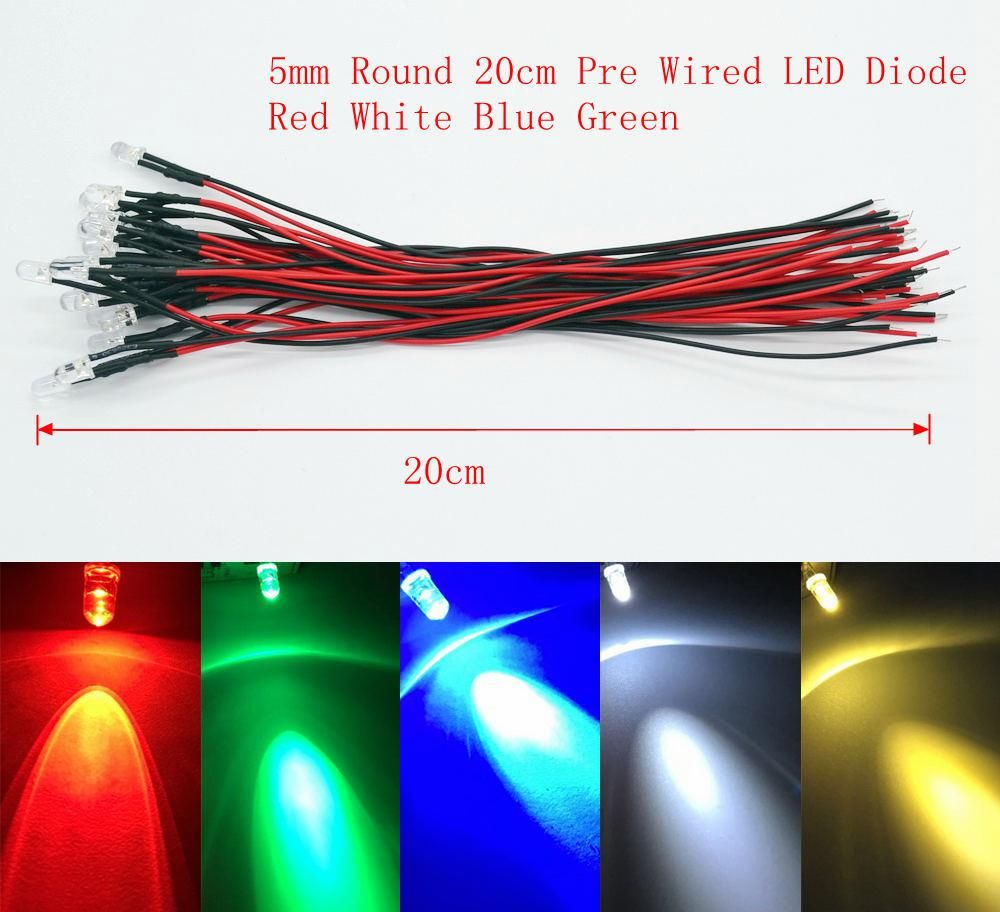 Bulb Round 12V 20cm Cable multi-color 5mm LED Light Emitting Diode Pre-Wired